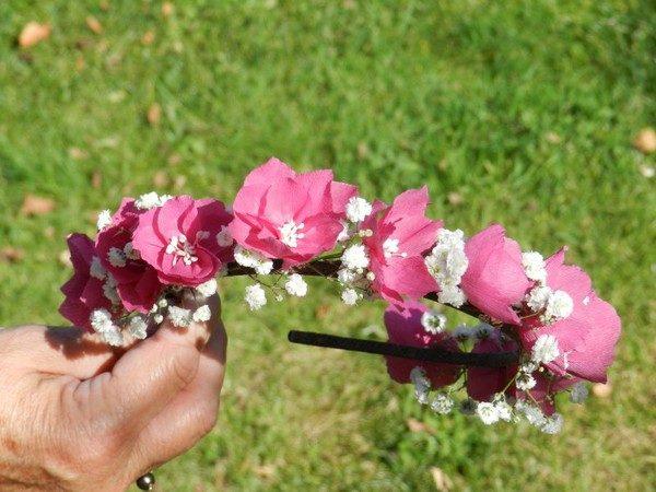 Serre-tête fleurs de papier Sybille